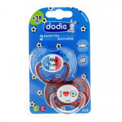 Dodie 2 Sucettes anatomiques silicone +18 mois Duo Foot N°A71